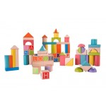 Blocks Wooden Build & Learn Set 80pcs - EverEarth