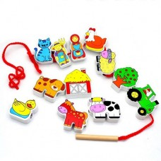 Lacing Blocks Farm - Viga Toys
