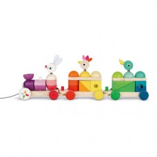 Pull Along Train - Giant with Multicoloured Stacking Blocks - Janod