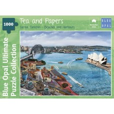 1000 pc Blue Opal Puzzle - Tea & Papers - Sarina Tomchin