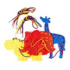 Lacing Shapes - Elephant, Giraffe, Hippo