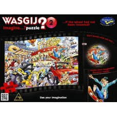 1000 pc Wasgij Puzzle Imagine #2 If the Wheel Had not Been Invented INCLUDES FREE PUZZLE-A-ROUND