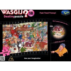 1000 pc Wasgij Puzzle Destiny #18 Food Frenzy INCLUDES FREE PUZZLE-A-ROUND