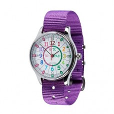 Watch - EasyRead Time Teacher - Waterproof - Rainbow Face- Purple Strap
