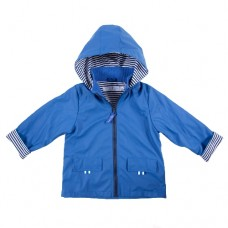 Raincoat Peacock Blue/Navy Pin Stripe Lining - Size 5 - 6 - French Soda