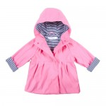Raincoat Girls Pink/Navy Pin Stripe Lining - Size 3 - 4 - French Soda