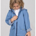 Raincoat Powder Blue/Navy Pin Stripe Lining - Size 1- 2 - French Soda