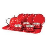 Tea Set Tin - Red & White Polka Dot