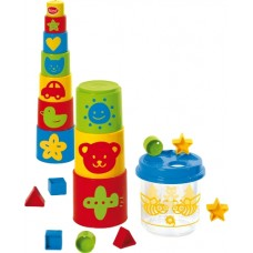 Stacking Blocks and Shape Sorter Bucket - Gowi Toys