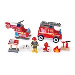 Fire Station Wooden with Engine & Helicopter - Hape