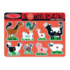 8 pc Melissa & Doug - Farm Animal Sound Pin Puzzle