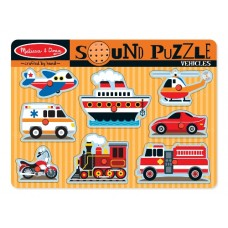8 pc Melissa & Doug - Vehicles Sound Pin Puzzle