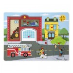 8 pc Melissa & Doug - Fire Station Sound Pin Puzzle