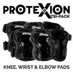 ProteXion Tri-Pack Kids - Black - Wrist, Elbow, Knee Protection