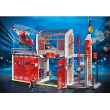 Fire Station with Alarm & Helicopter - Playmobil City Action Fire