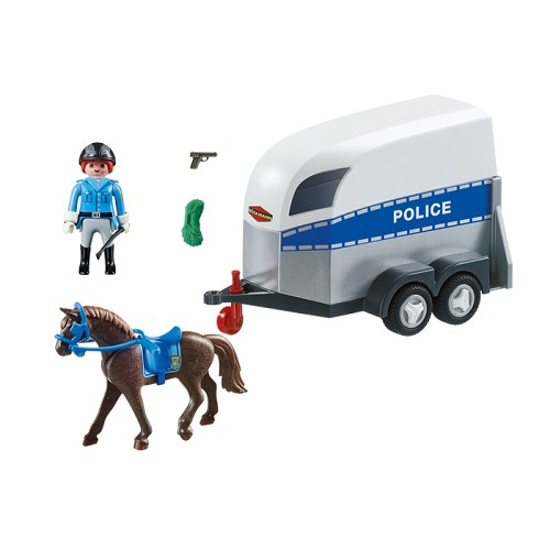 police with horse and trailer playmobil city action police new in 2017 - Policier Playmobil