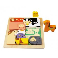Farm Animal Wooden Chunky Puzzle - Kiddie Connect