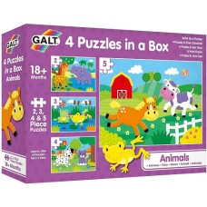 Animals Puzzles - 4 in a Box - Galt