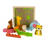 Wild Animal Wooden Chunky Puzzle - Kiddie Connect