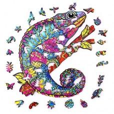 150 pc Wooden Puzzle - Rainbow Chameleon
