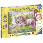 100 pc Ravensburger Puzzle - Magical Unicorns with Colouring Book XXL Pieces