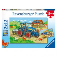 12 pc Ravensburger Puzzle - Hard at Work 2x12 pc