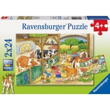 24 pc Ravensburger Puzzle - Merry Country Life 2x24pc