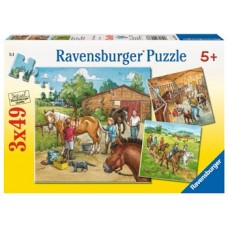 49 pc Ravensburger - A Day with Horses Puzzle 3x49 pc