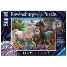 500 pc Ravensburger Puzzle - Adorned Stallions Jewel