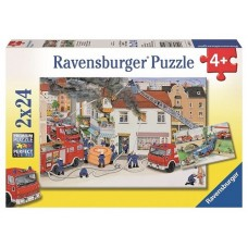 24 pc Ravensburger Puzzle - Busy Fire Brigade 2x24pc