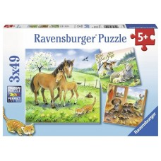 49 pc Ravensburger Puzzle - Cuddle Time 3x49 pc
