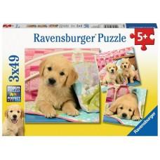 49 pc Ravensburger Puzzle - Cute Puppies 3x49pc