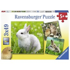 49 pc Ravensburger - Cute Bunnies Puzzle 3x49 pc