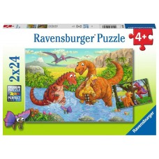 24 pc Ravensburger Puzzle - Dinosaurs at Play 2x24pc