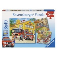 49 pc Ravensburger Puzzle - Fire Brigade Run 3x49pc