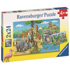 24 pc Ravensburger Puzzle - Welcome to the Zoo 2x24pc
