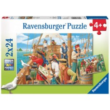 24 pc Ravensburger - With the Pirates Puzzle 2x24pc *