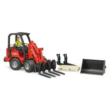 Compact Loader Shaffer Wheeled 2034 with Figure and Accessories  - Bruder 2191
