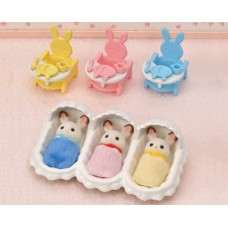 Sylvanian Families - Chocolate Rabbit Triplets Care Set NEW in 2021