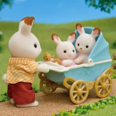 Sylvanian Families - Chocolate Rabbit Twins Pram Set