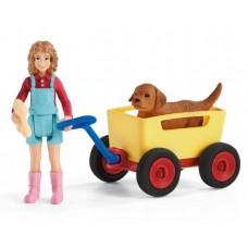 Dog - Puppy Wagon Ride - Schleich 42543  NEW 2021