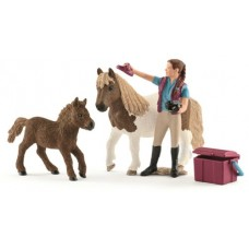 Stablehand with Shetland Ponies - Schleich 42362