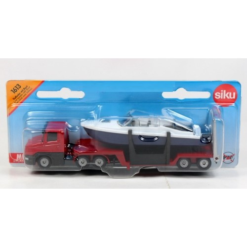 Siku Diecast Vehicle Model 1613 Low Loader With Boat