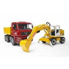 Construction Truck Man TGA  with Liebherr Excavator - Bruder 02751